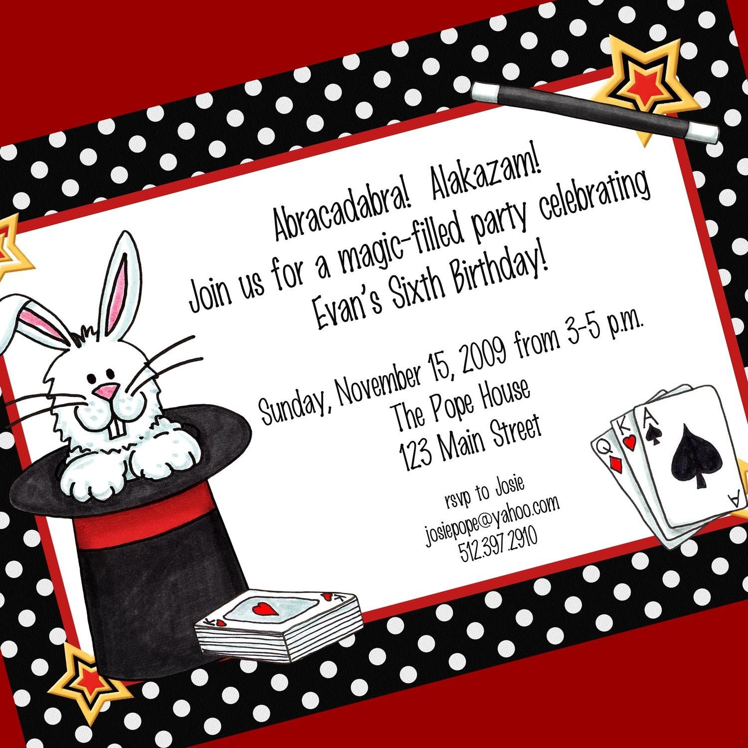Magic Party Invitation, Printable Invitation Design, Custom Wording ...