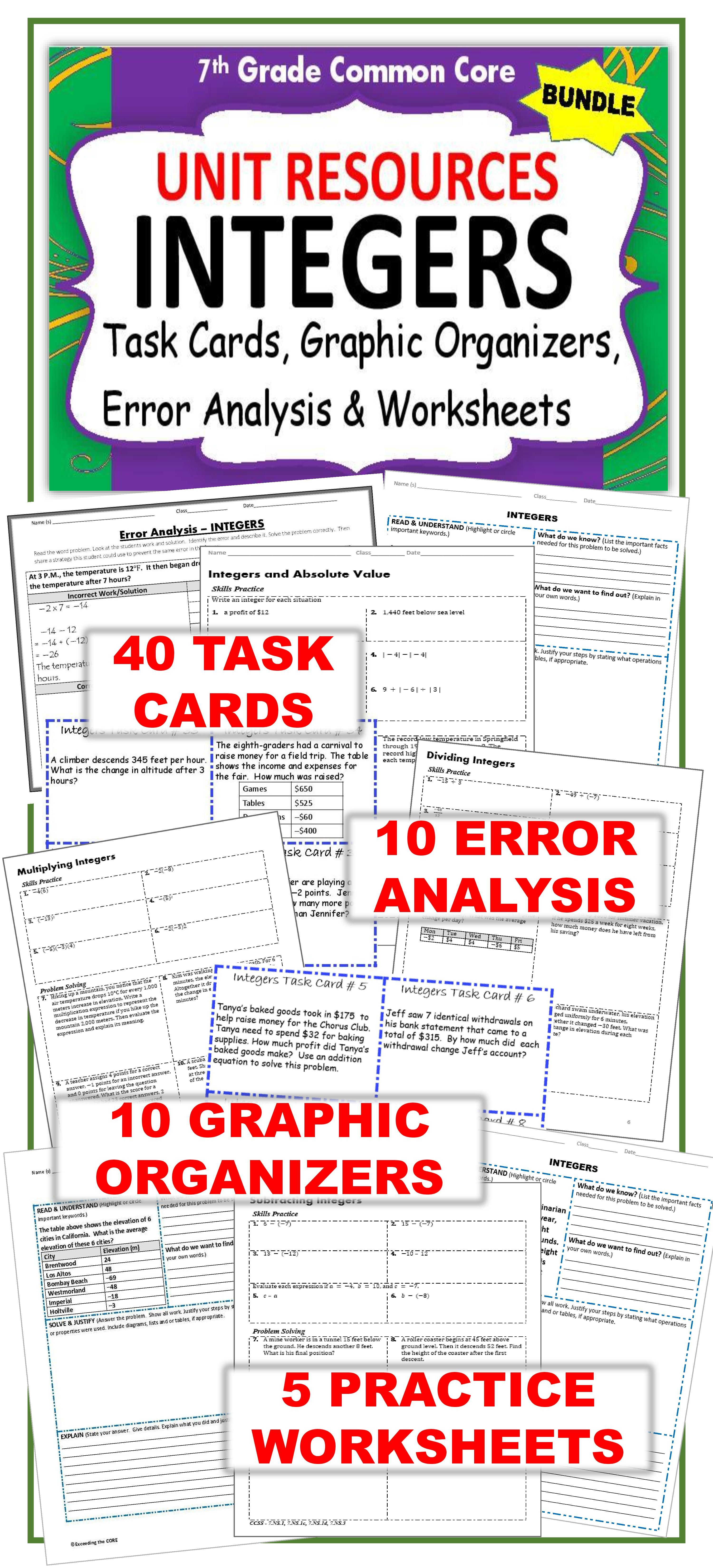 Integers Task Cards Errorysis Notes Graphic Organizer Puzzles Bundle