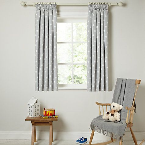 Buy Little Home At John Lewis Star Pencil Pleat Blackout Lined - John lewis curtains grey