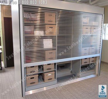 Beautiful Rolling Tambour Shelving Doors | Locking Roll Up Security Door Cabinets