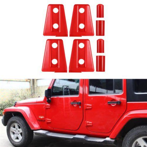 4x-Red-Truck-Car-Side-Door-Hinge-Protector-Cover-Trim-For-Jeep-Wrangler-JK-2Door