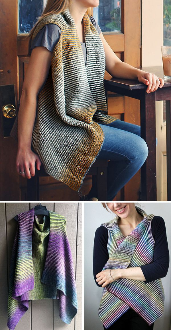 Free Knitting Pattern For Easy Cascade Vest Striped A Line Vest