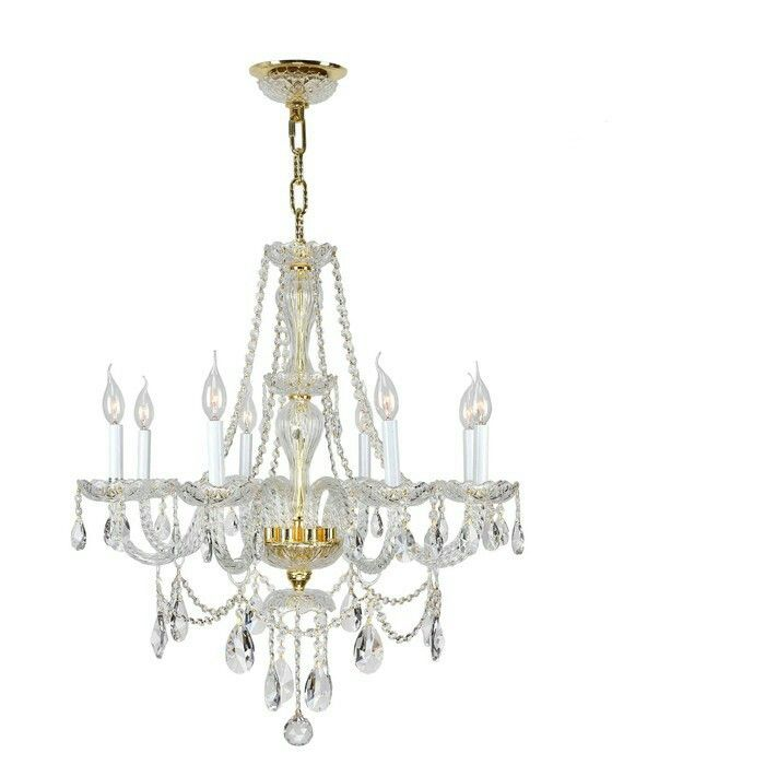 Worldwide Lighting Corp Provence Polished Gold Eight Light Chandelier On
