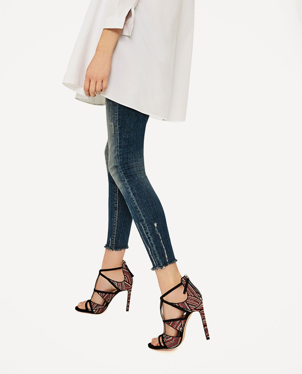 CombinadoShoes Tacón Mujer Sandalia Tejido Zara Zapatos 4L35RAj