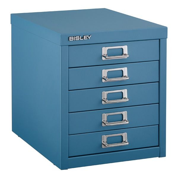 Captivating Blue Bisley® 5 Drawer Cabinet. Use For Paper, Memorabilia, Office Supplies