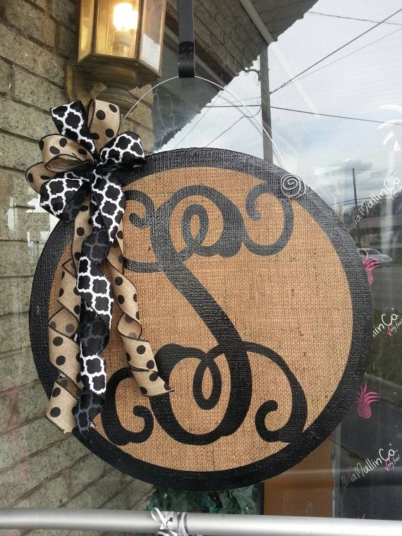 New Burlap Door Hanger Classy Monogrammed By Sayitwithsassroxboro Door Hangers Diy Burlap