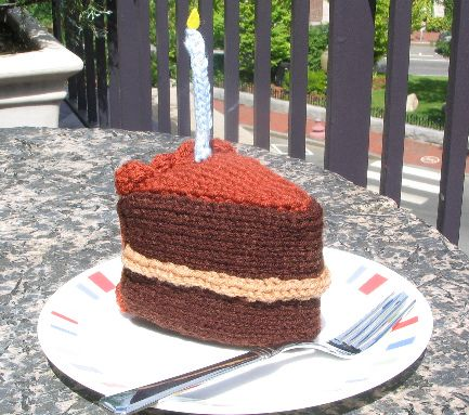 Let Them Knit Cake; a free knitting pattern for a slice of cake ...
