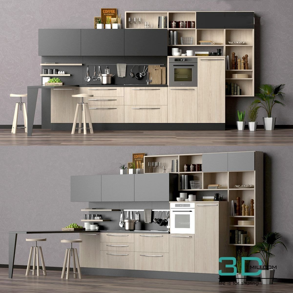 01 Kitchen Room 3d Mili Download 3d Model Free 3d Models 3d Model Download Kitchendesign3dmodelfreedow Kitchen Models Kitchen Interior Kitchen Layout