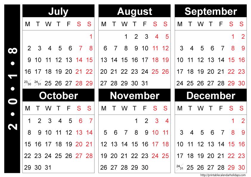 December 2017 -Jan 2019 Calendar free 2018 july to december calendar | 2018 Calendars | 2018 yearly