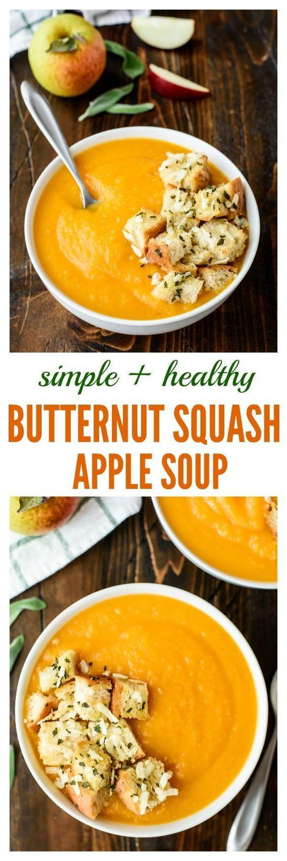 Butternut Squash Apple Soup with Sage Parmesan Croutons ...
