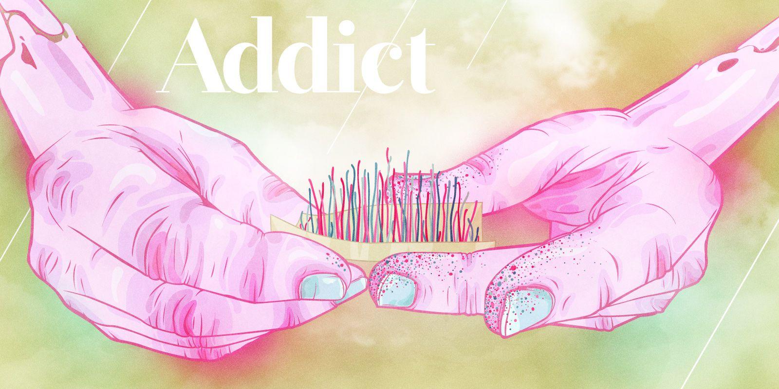 Sylvain Combe - Addict #illustration #hand #cigarette #tabac
