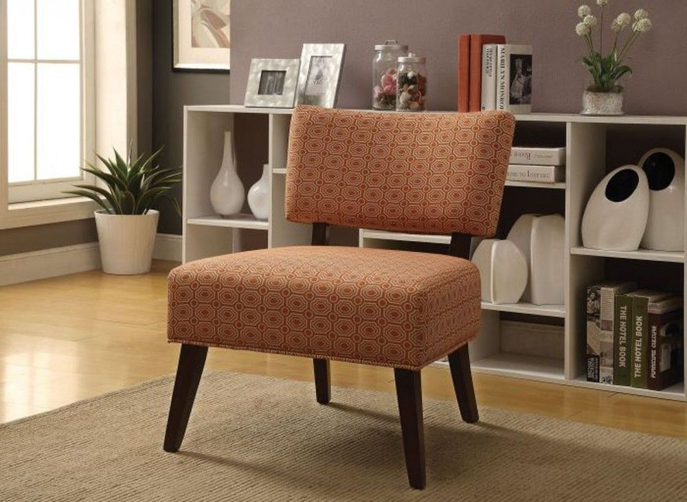 Acme furniture able fabric accent chair in orange accent