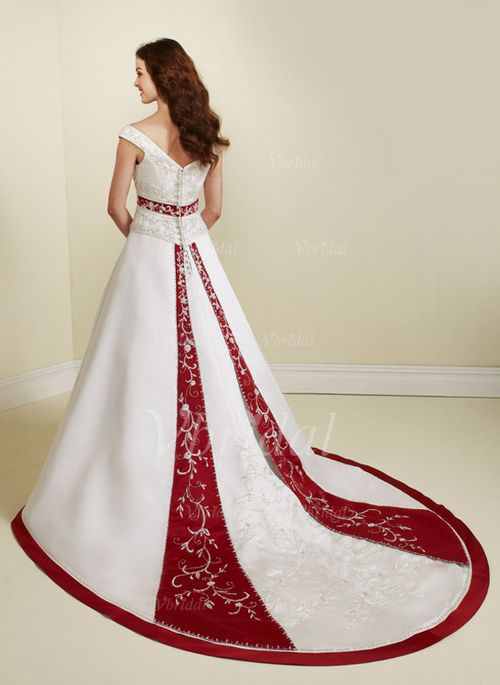 Wedding Dresses - $253.00 - A-Line/Princess V-neck Chapel Train Satin Wedding Dress With Sash Beading Sequins (00205002097)
