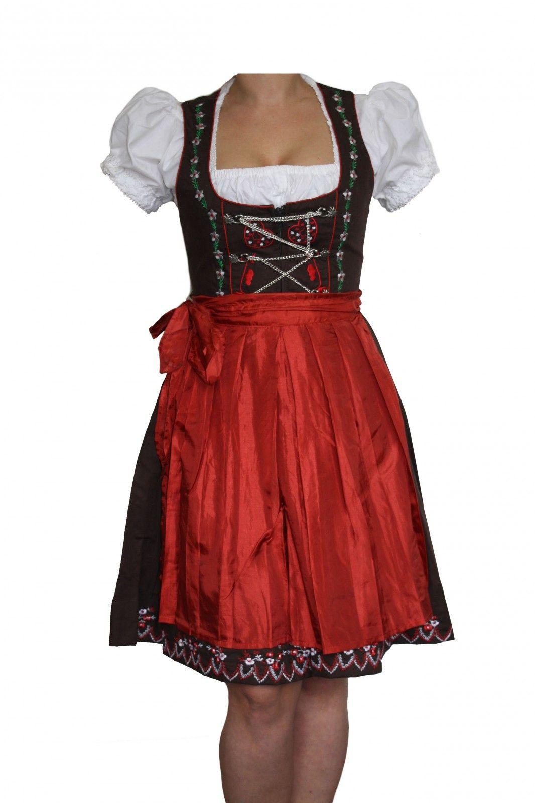 3 Pieces Midi-Dirndl Dress Set, Colour Red