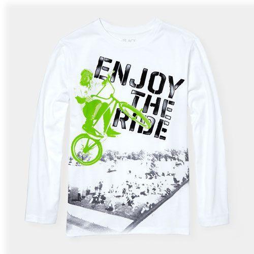bb83459c9 s Boys Long Sleeve 'Enjoy The Ride' Bmx Bike Graphic Tee - White T-Shirt -  The Children's Place