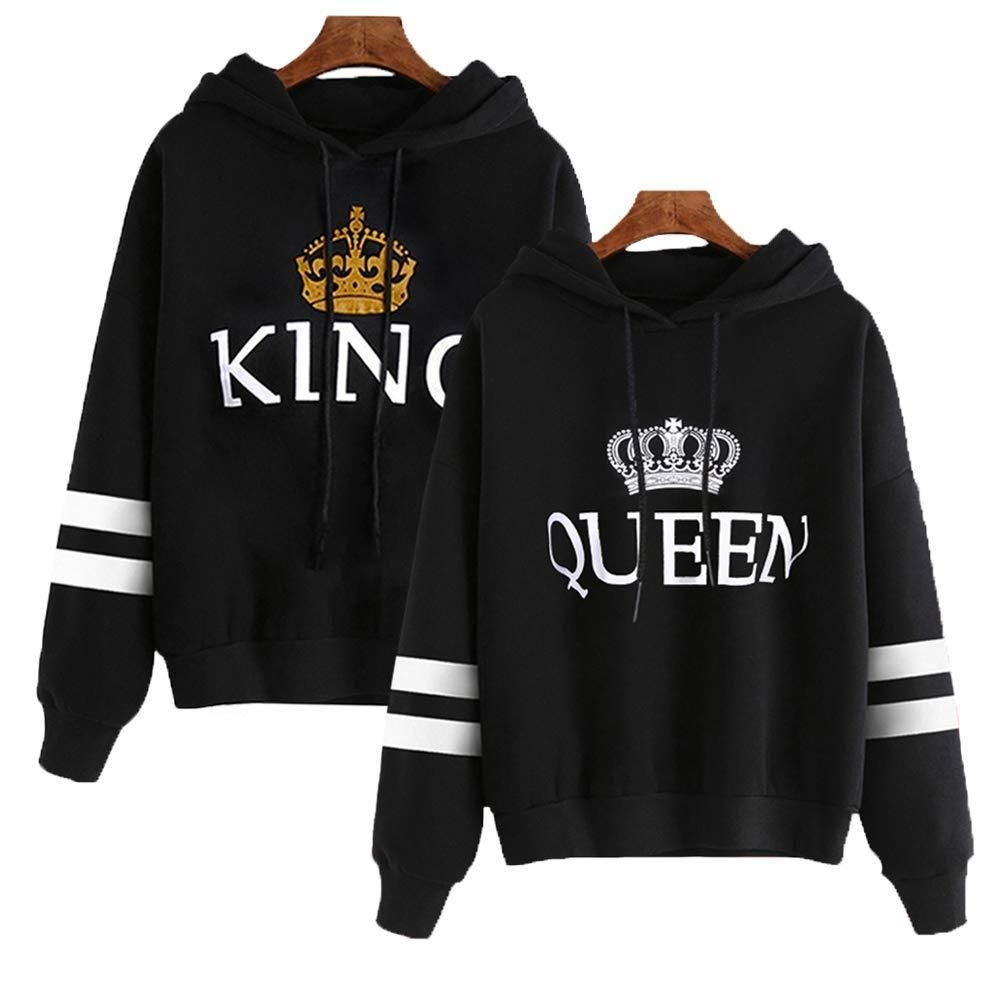 YJQ King and Queen Matching Couple Hoodies Pullover Hoodie