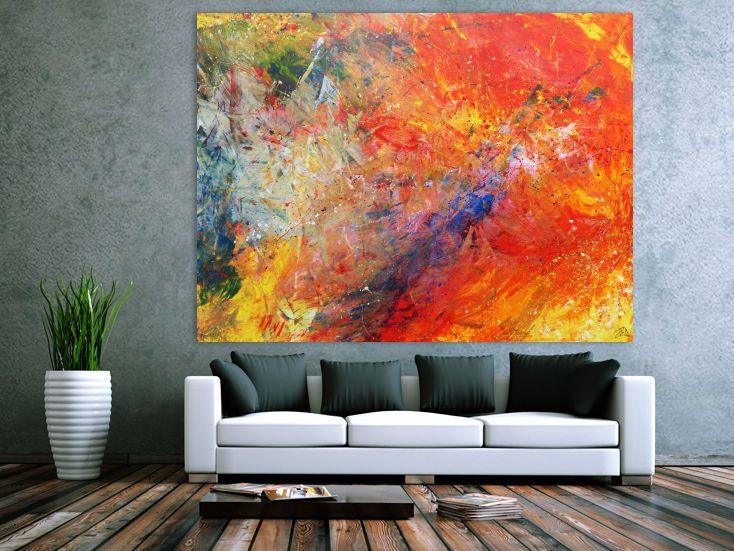 Abstraktes Acrylbild sehr bunt modern luxus 150x200cm von xxl-art.de