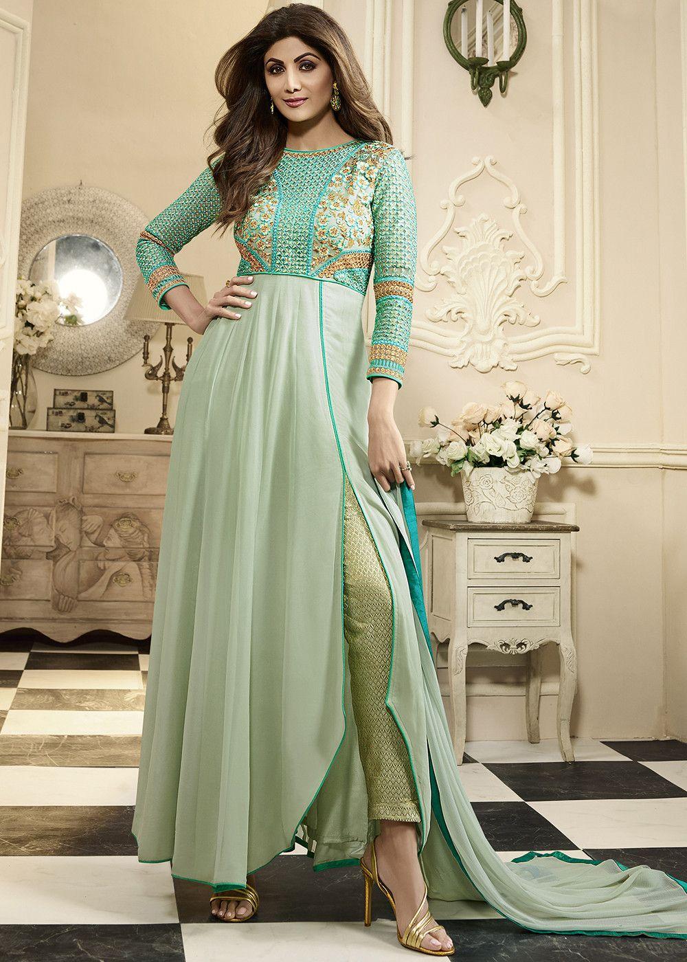 9458b08907 Shilpa Shetty Mint Blue Georgette #Asymmetric #Pant #Suit Designer Anarkali  Dresses, Indian