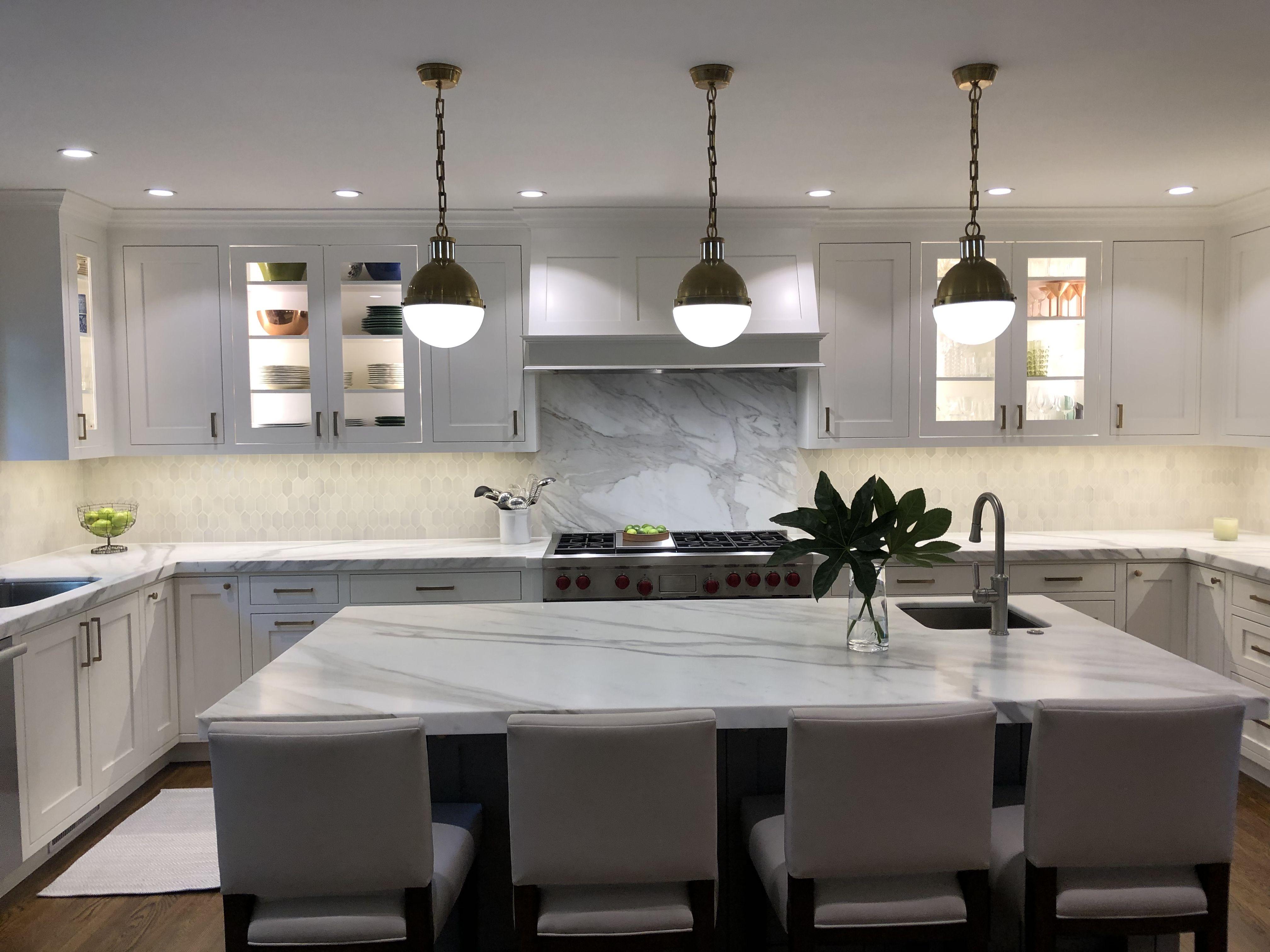- White Kitchen, Calacutta Marble, Picket Backsplash Waterworks