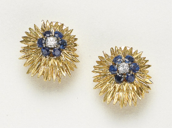 PHILLIPS : NY060109, Van Cleef and Arpels (Co.), A Pair of Sapphire, Diamond and Gold Earclips