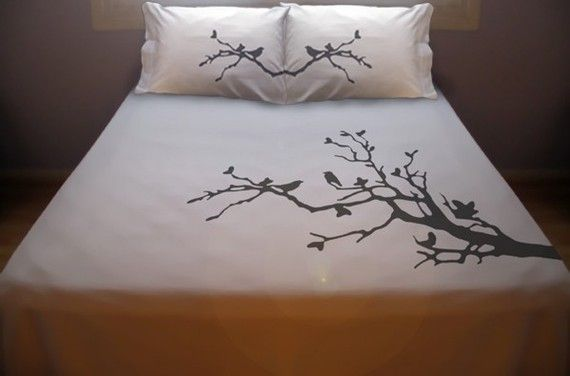 Tree Branch Birds Duvet Cover Sheet Set Bedding Queen King Twin Size Lovebirds Bird Leaves Blossom