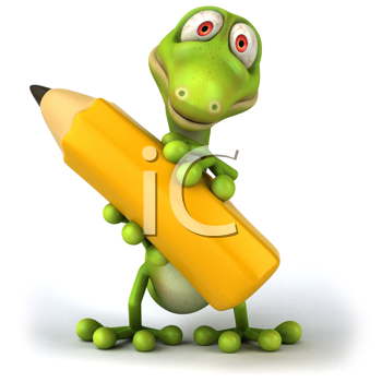 iCLIPART - Royalty Free Clipart Image of a Lizard With a Pencil