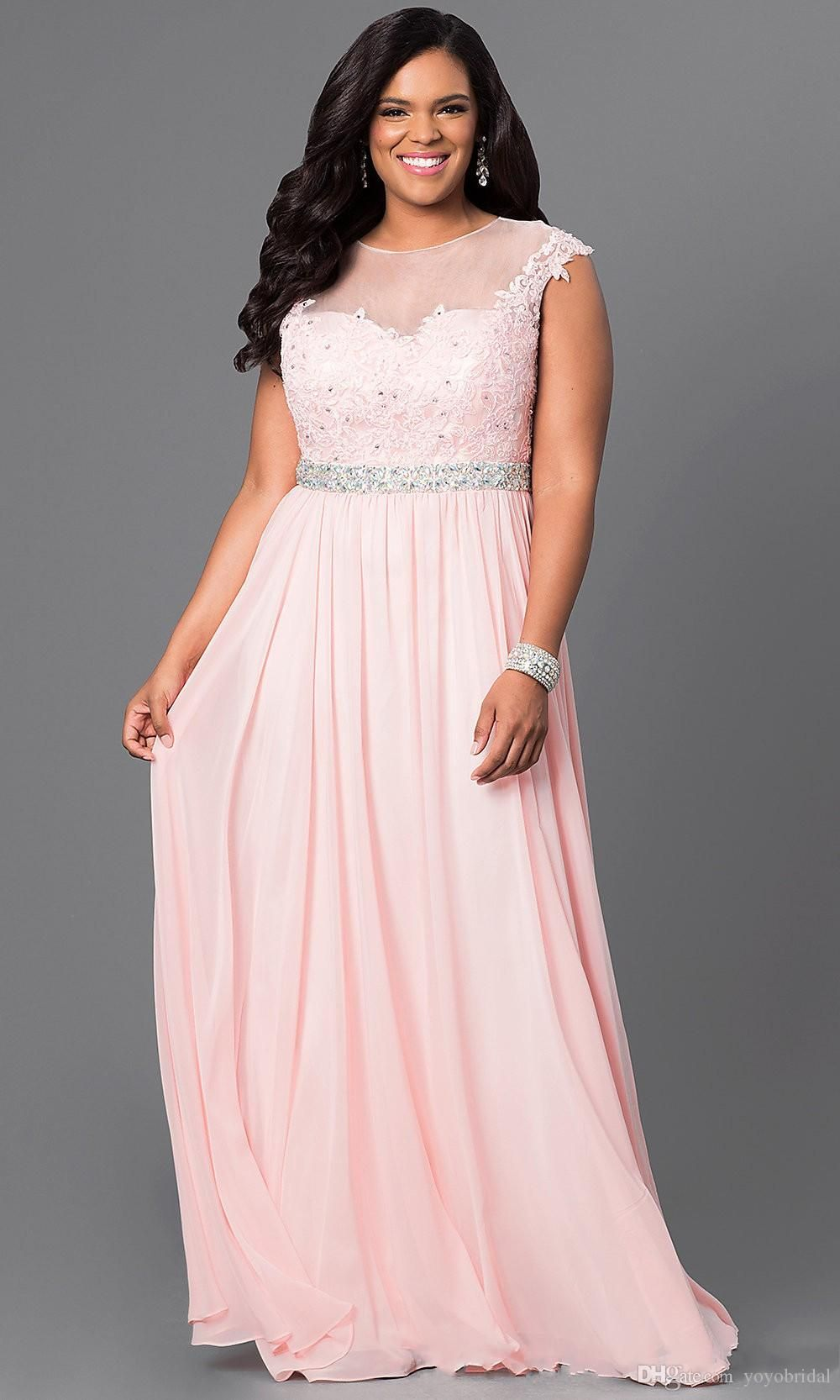 32a8954d6e2 Pink Light Purple Cheap Prom Evening Dresses Plus size Bateau Cap Short  Sleeves Chiffon Applique Long Pageant Formal Party Dress Gowns