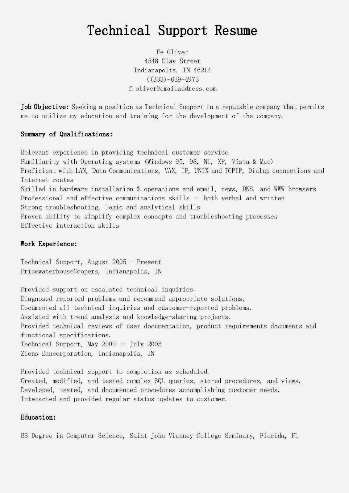 It Support Resume Examples Elegant Resume Samples