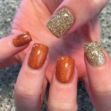 45 Simple Fall Nail Art Designs You Need To Try With Images Fall Gel Nails Simple Fall Nails Thanksgiving Nails