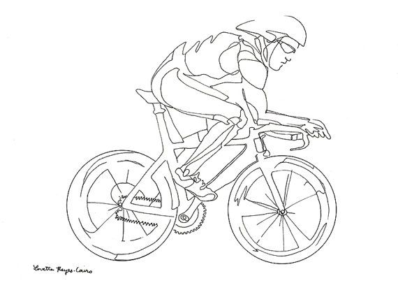 Cyclist Drawing Of A Man Riding A Bicycle Bike Drawing