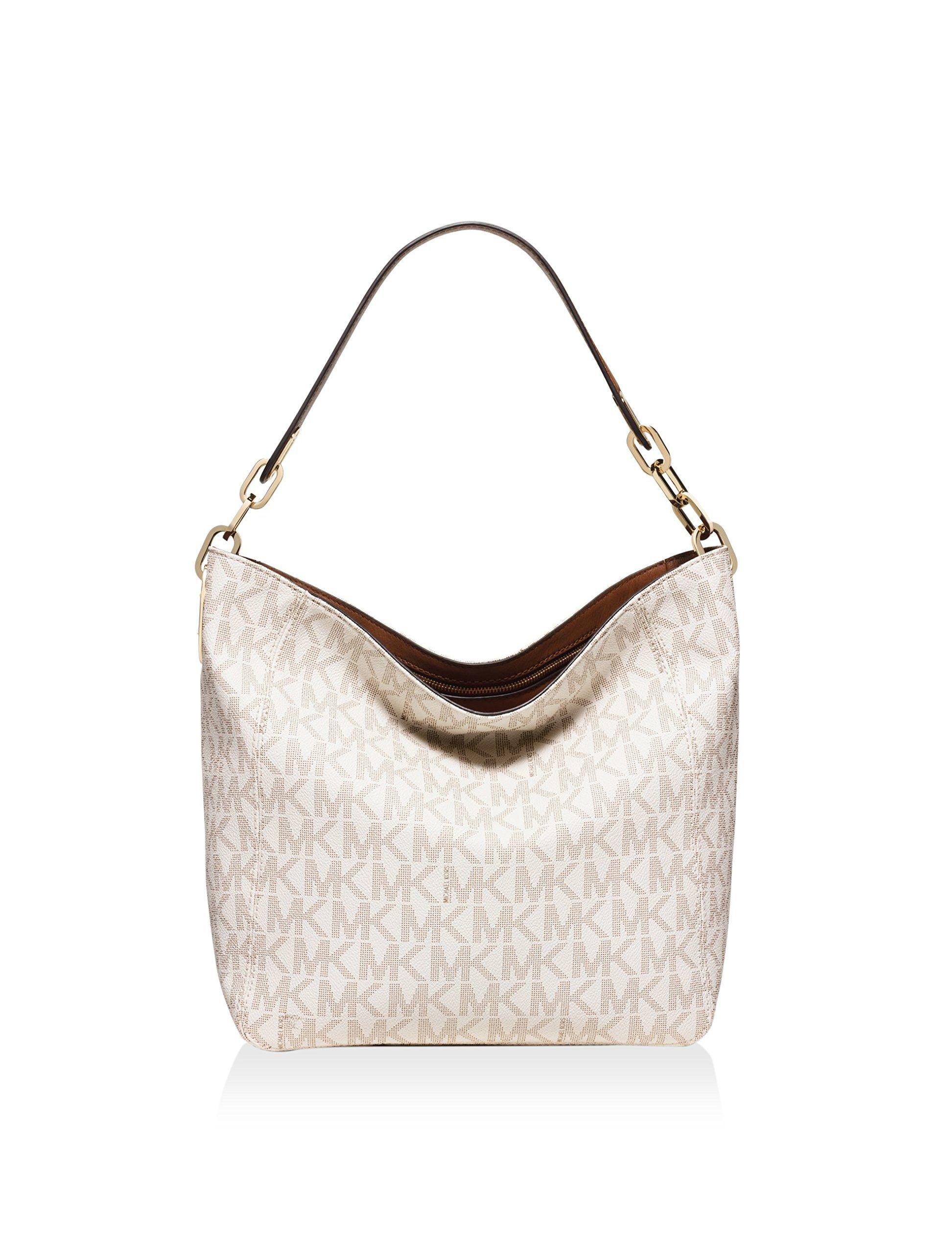 Michael Kors Fulton Medium Leather Shoulder Bag- Vanilla