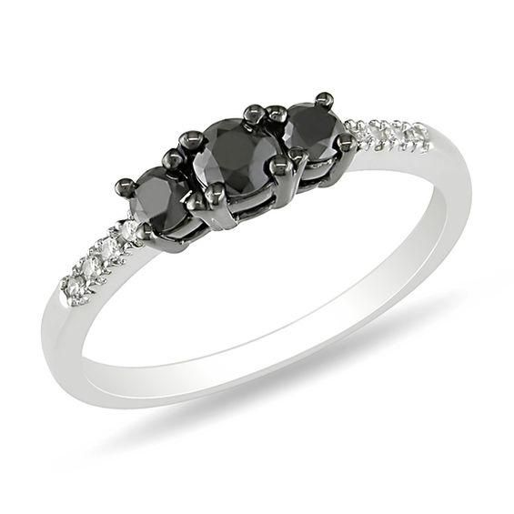 Zales 1/2 CT. T.w. Enhanced Black Diamond Three Stone Ring in 10K White Gold with Diamond Accents Y7Xcc3yb1