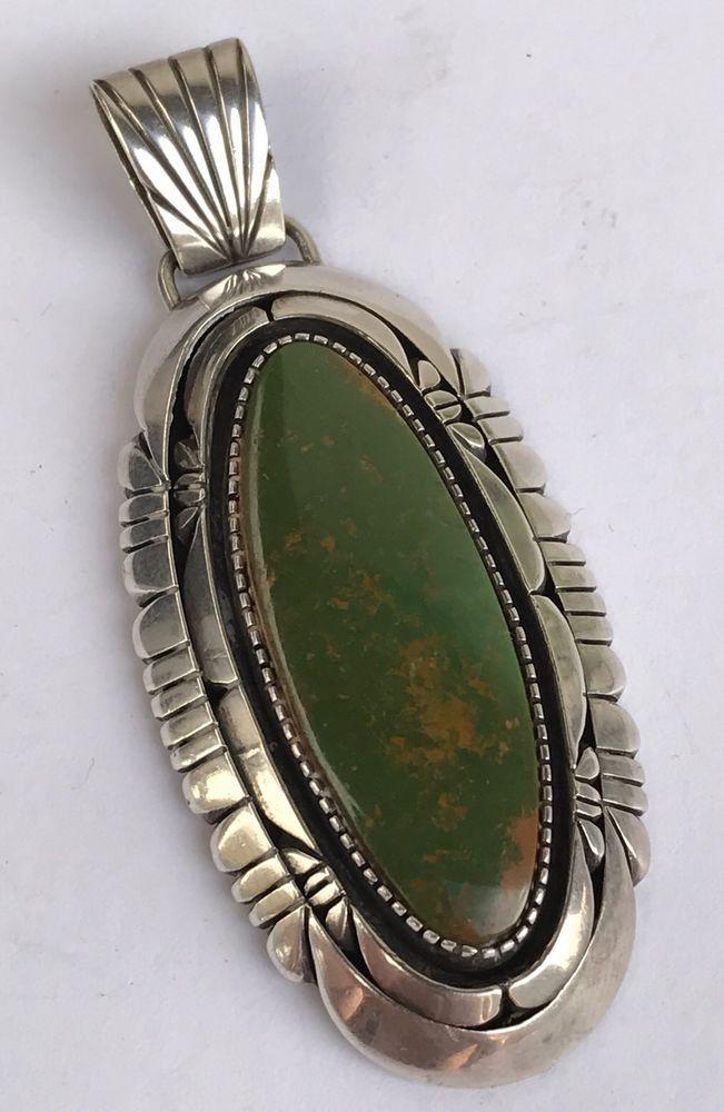 "Vintage Hopi Green Royston Gem Turquoise Sterling Silver Navajo Pendant - 2 7/8"""