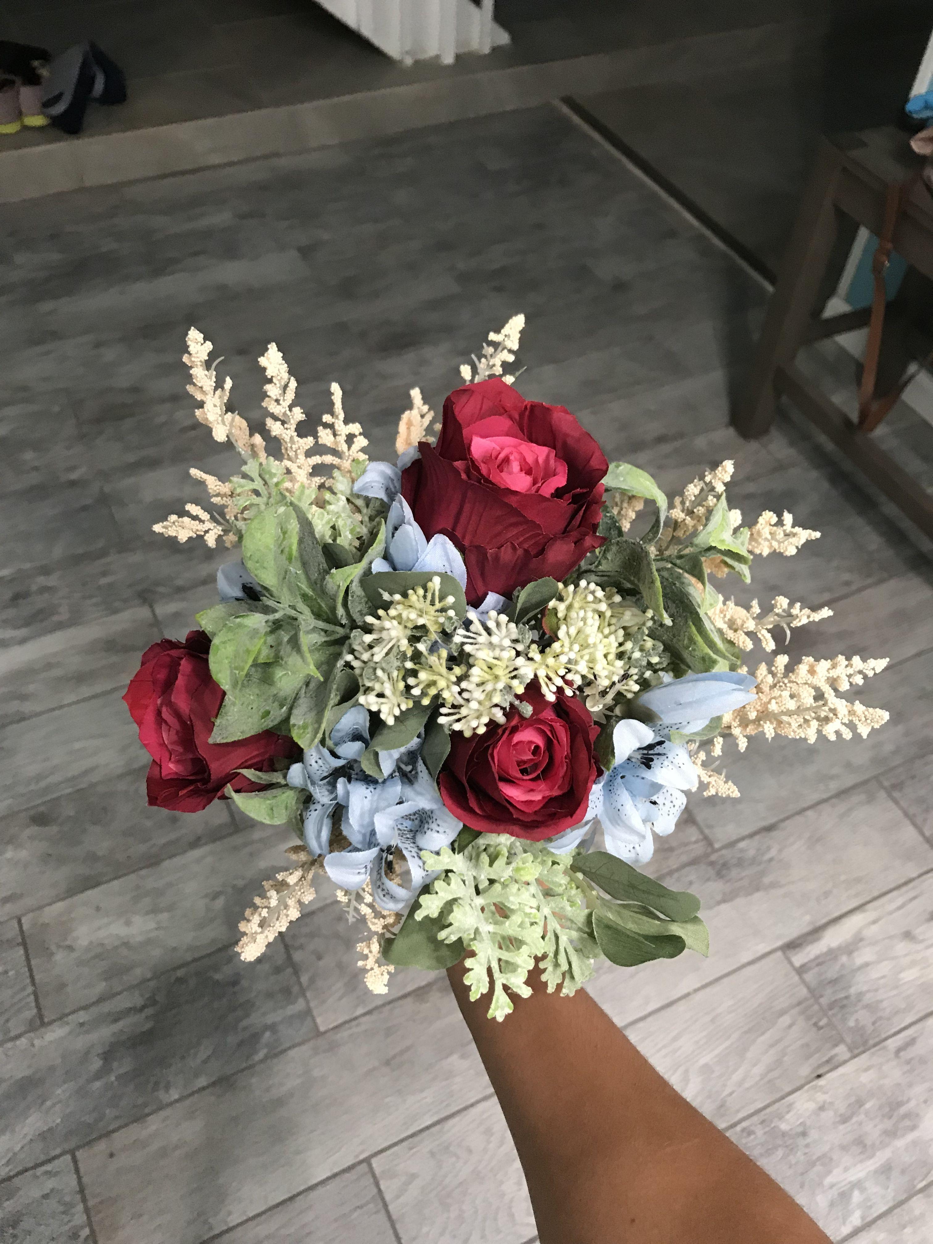 Burgundy rose wedding bouquet in 2019 Rose wedding