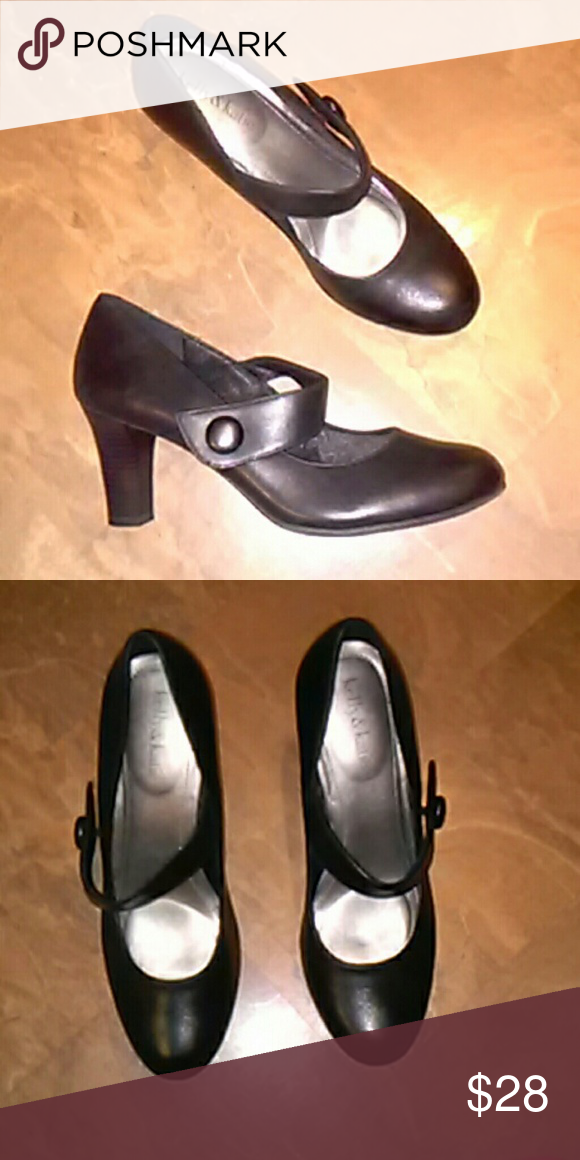 5a7e4cd28 Kelly & Katie Black Leather Band Pump SZ-8 Black leather pump with 3 in.  heel with instep band, rounded toe,pre owned good condition. Kathy & Katie  Shoes ...