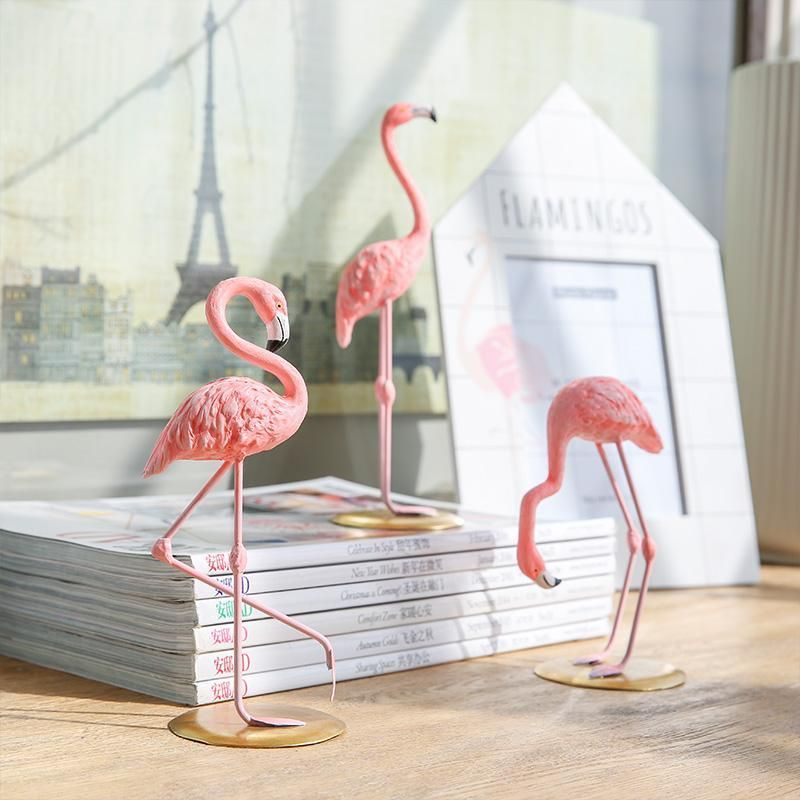 PINK FLAMINGO FIGURINE Tropical Statue Collectible Bird Resin Gift Home Decor 2