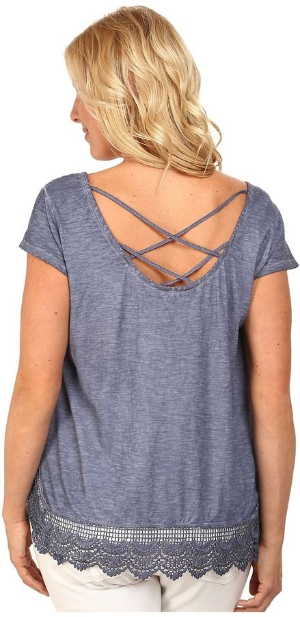 Plus Size Criss Cross Back Lace Trim Top
