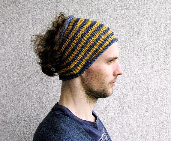 Striped hair wrap Dread band Mens Headband Guys knit by mareshop ... de6138ac791