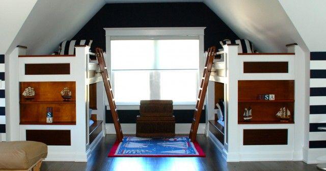 terrific boys bedroom | Bunk Beds For Slanted Ceilings | Terrific Built In Bunk ...