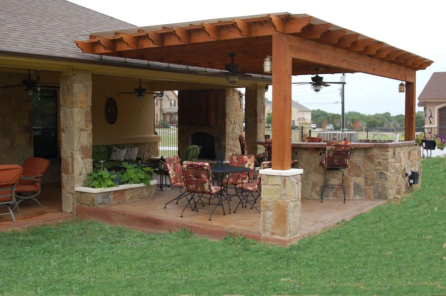 outdoor pergolas covered Outdoor Kitchen Weatherproof Pergola