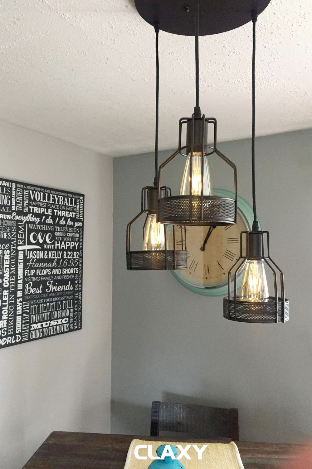 Industrial Bronze Pendant Chandelier With Metal Cage 3 Light Cage Pendant Light Dining Room Pendant Hanging Light Fixtures