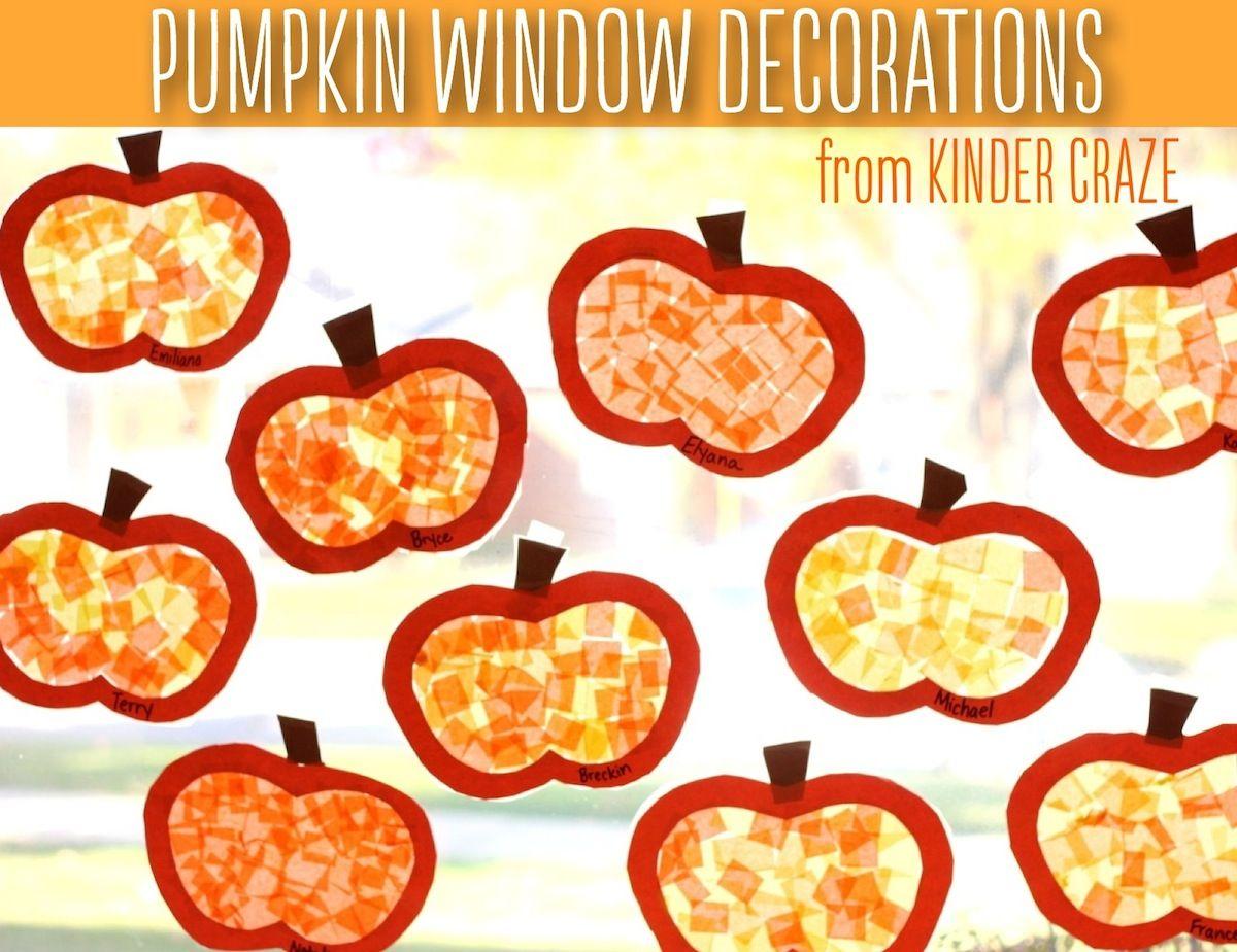 Window decoration for kindergarten  pumpkin window decorations tutorial  decoration activities and