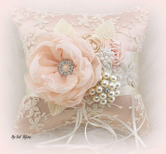 Ring Bearer Pillow Wedding Bridal Jeweled Blush Cream by SolBijou
