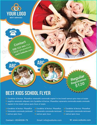 Professional Educational PSD School Flyer Templates - High school brochure template