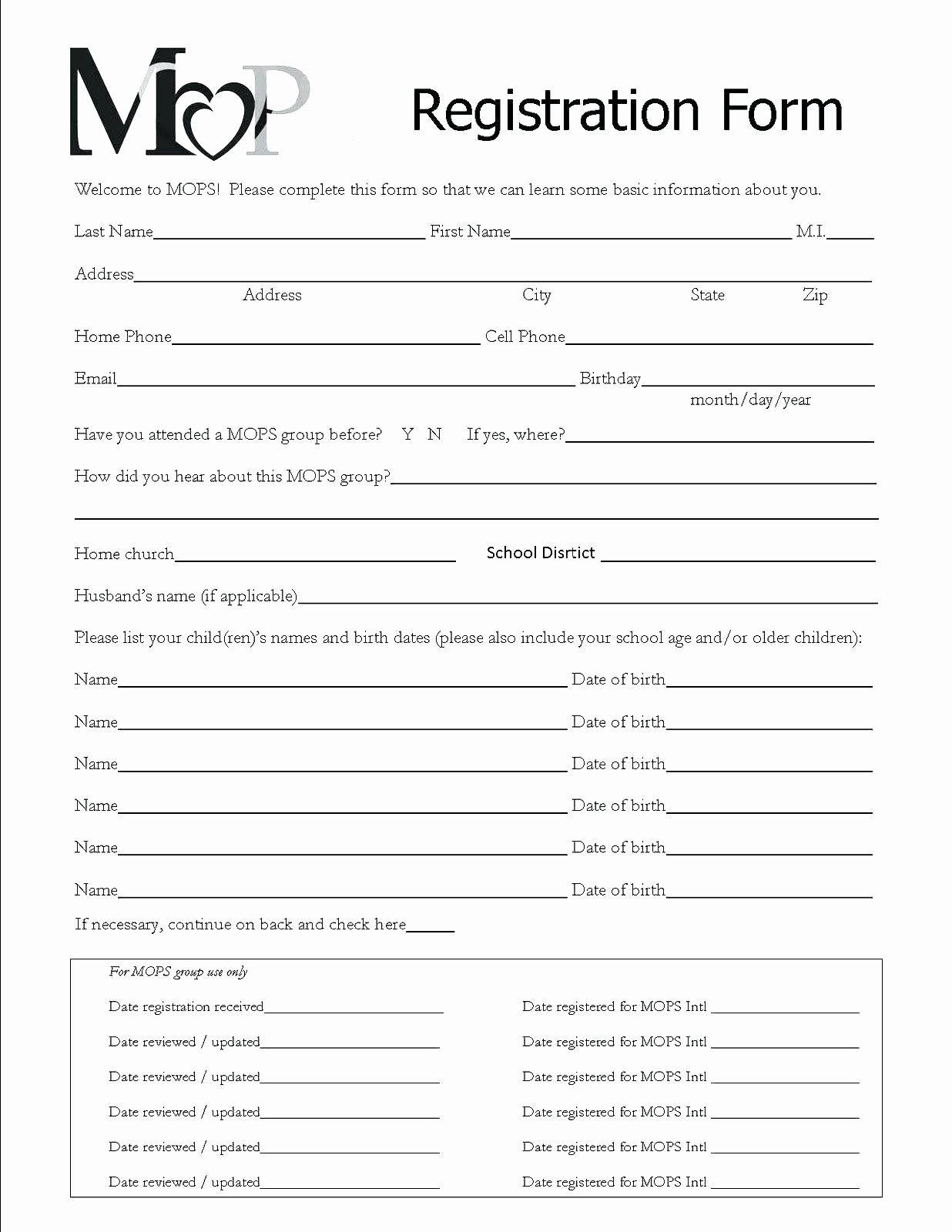 School Registration form Template Elegant Template
