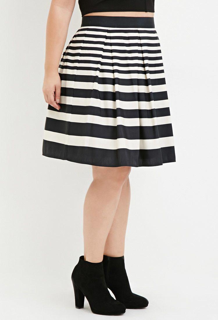 c0280cac17c Plus Size Pleated Stripe Skirt
