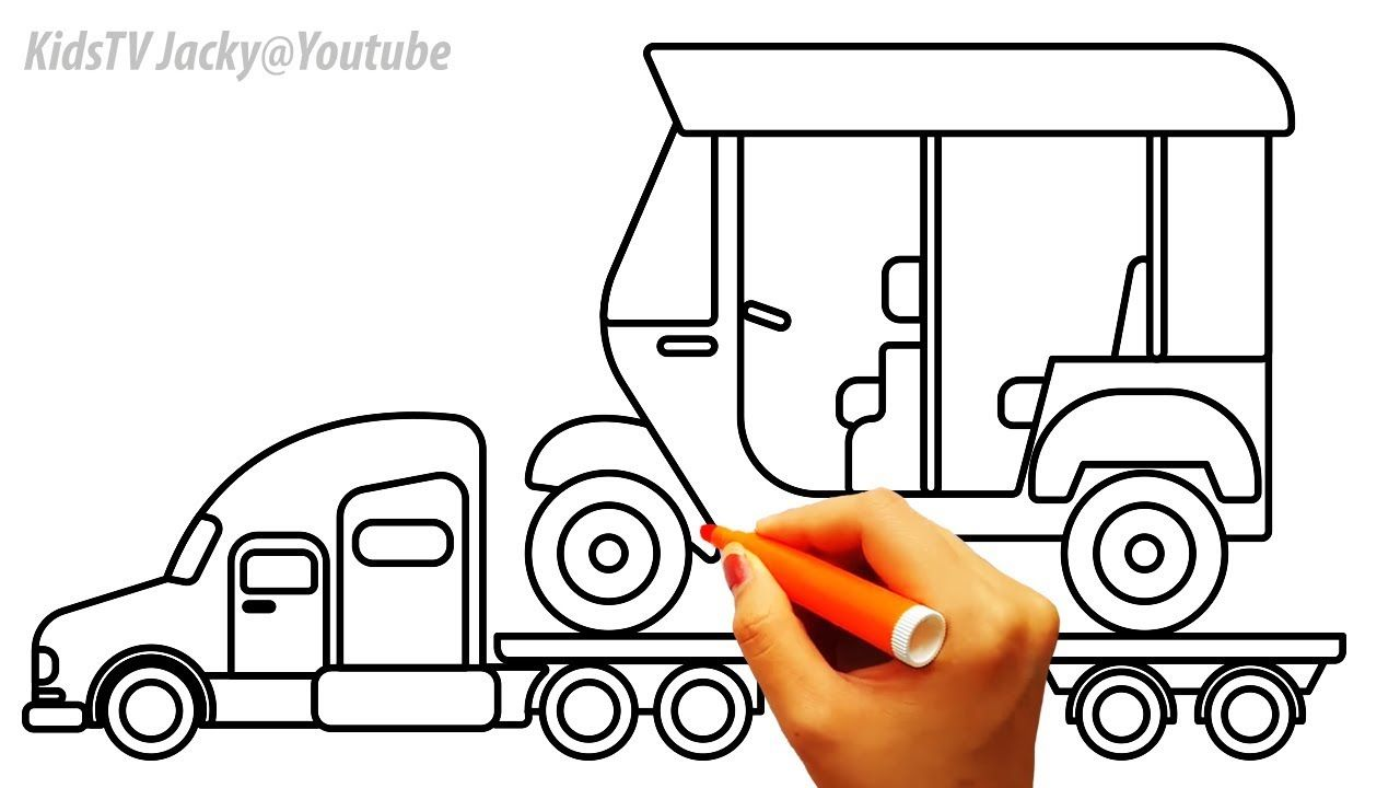Truck And Auto Rickshaw Coloring Pages For KidsCar Book Video
