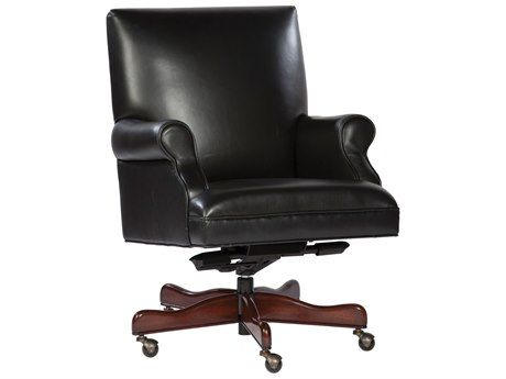 Hekman Office Executive Smooth Back Leather Chair In Black