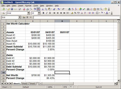 Building Your Own Monthly Net Worth Calculator Using A Spreadsheet - net worth spreadsheet