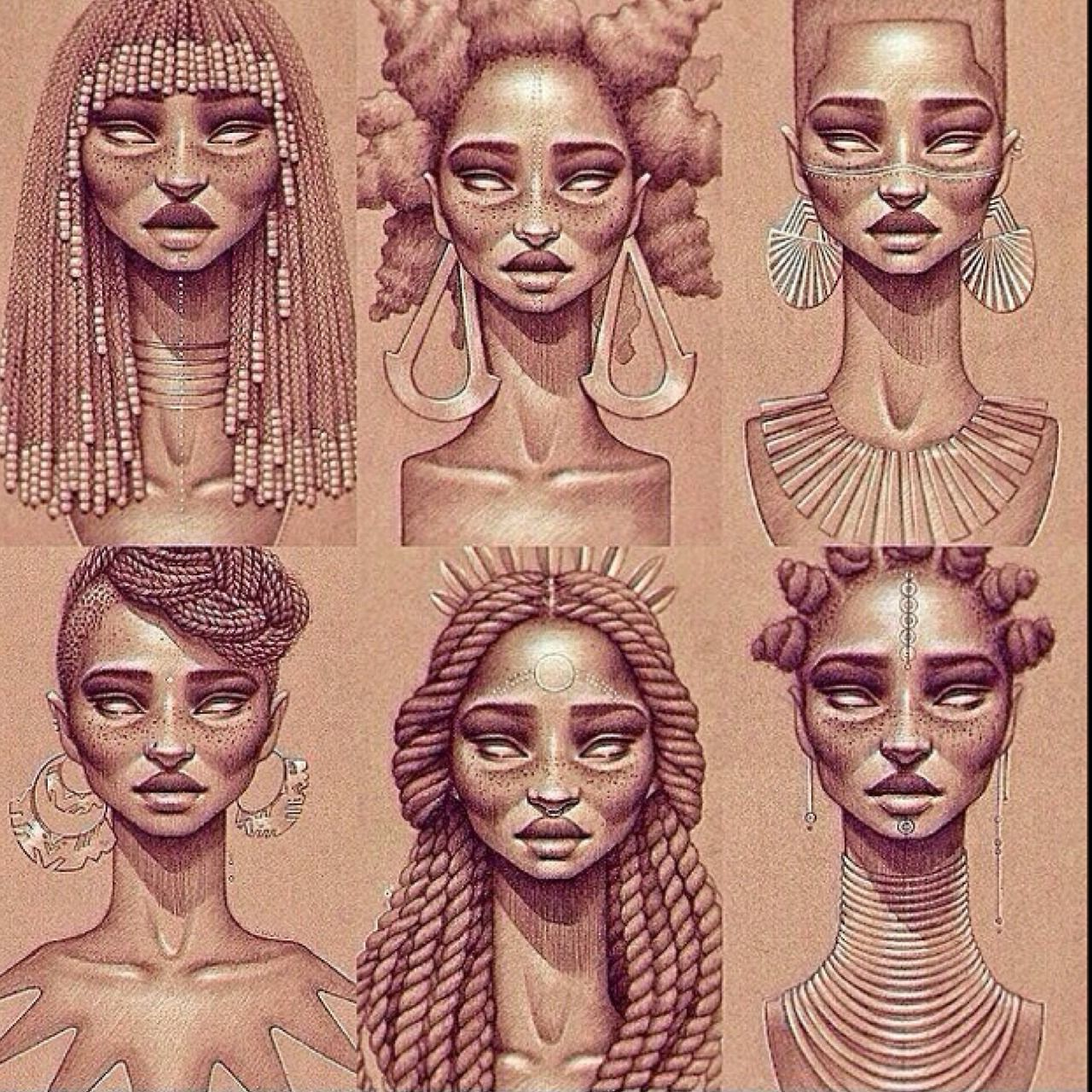 African queens i really like this form of photography and pencil drawing